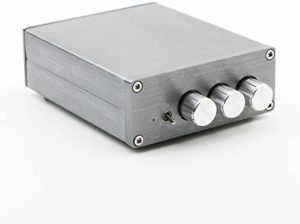 Power Stereo Amplifier Mini 2.0 Digital HiFi Stereo Amplifier Home Audio AMP, Dual-Channel, TPA3116, 50WX2 DIY, DC8-25V with High Low Volume Control System and Tone Adjustment Light Gray
