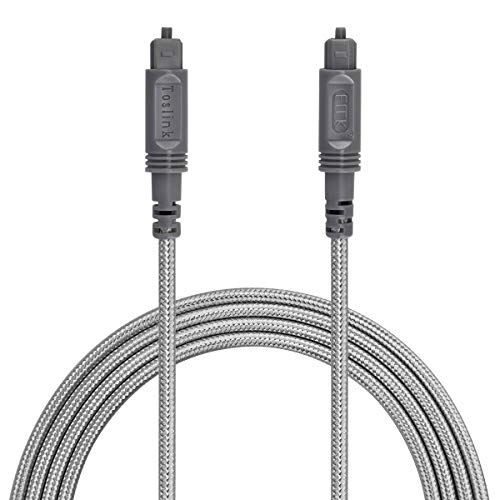 Optical Audio Cable Digital Toslink Cable 10ft – [ Ultra-Durable Nylon Braided Jacket ] Slim Flexible and Durable Fiber Optic Cord for Home Theater, Sound bar, TV, PS4, Xbox and More