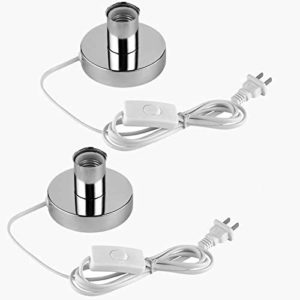 (2PACK) Polished Metal Desktop Lamp Base Ceramic Base Holder 6 ft Cord On/off Switch Plug E26/e27 Screw Base Ideal for CFL lamp table lamp,Himalayan Salt Lamp Cords, (On-Off Switch)