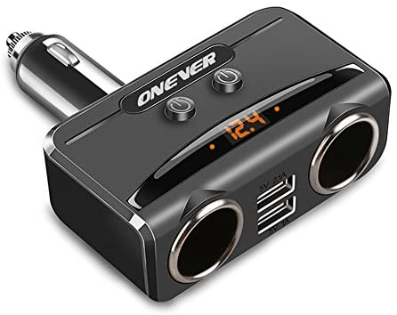 ONEVER 1 to 2 Sockets Cigarette Lighter Splitter, Dual USB Car Charger DC Outlet Power Adapter with On/Off Switch and Voltage Display Support Fast Charging Compatible Smartphones Tablets Dash Cam etc