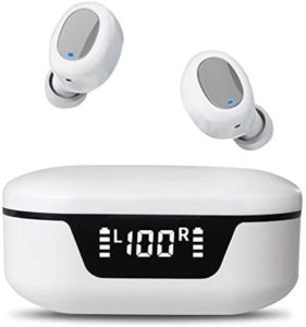 True Wireless Earbuds Bluetooth Headphones Touch Control with Wireless Charging Case Waterproof Hi-Fi Stereo Earphones in-Ear Built-in Mic Headset Premium Deep Bass for Sport (White)