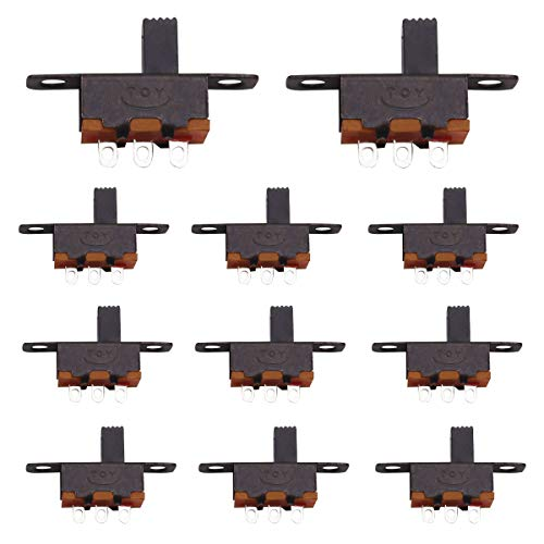 mxuteuk 60pcs Micro Miniature Slide Switch High Knob 3 Pin 2 Position SPDT Latching Toggle Switch Panel Mount 0.5A 50V DC 5MM SS-12F15-G5