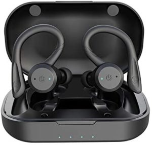 True Wireless Earbuds Bluetooth 5.0 Headphones with Mic HiFi Bass IPX7 Waterproof TWS Stereo Headsets Noise Cancelling Earphones with Battery Charging Case (Black)