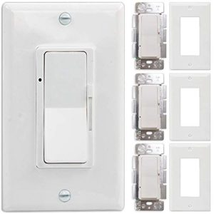 Wall Switch, 4Pack On/Off Dimmer Switch for Dimmable LED Panel Lights, CFL, Halogen and Incandescent Bulbs, with Wallplate, Single-Pole/3-Way, ETL Listed
