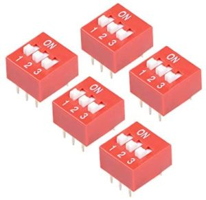 uxcell 5 Pcs Red DIP Switch 1 2 3 Positions 2.54mm Pitch for Circuit Breadboards PCB