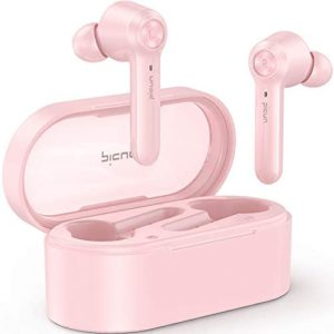 Picun Wireless Earbuds Bluetooth V5.0+EDR 36 Hrs Playtime HiFi Immersive Bass IPX8 Waterproof Wireless Headphones w/Mic, Hall Switch, Touch Control, Single/Twin Mode, USB-C, Fit for Women (Rose Gold)