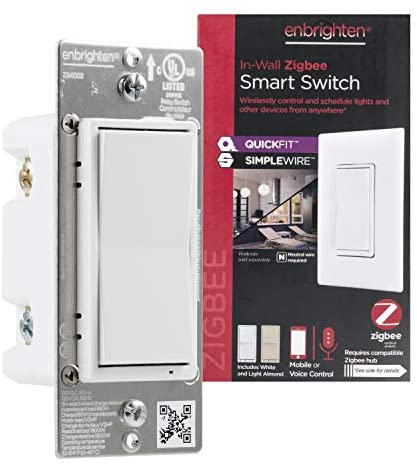 Enbrighten Zigbee Smart Light Switch with QuickFit and SimpleWire, Pairs Directly with Echo 4th Gen/Echo Show 10 (All)/Echo Studio/Echo Plus (All)/Eero Pro 6, White & Light Almond, 43076