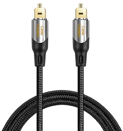 Digital Optical Audio Cable 6FT, CableCreation Toslink Cable with Nylon Braided Fiber Optic Cord for Home Theater, Sound Bar, TV, PS4, Playstation, Xbox, VD/CD & More