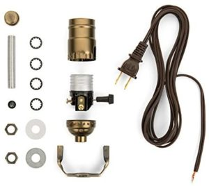 I Like That Lamp Base Socket Kit Electrical Wiring Set for Making, Repairing & Repurposing Lamps Antique Brass Socket with a Long Brown Cord