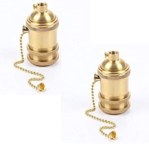 EFINEHOME 2 Pack Solid Brass Light Socket with 2 Socket Rings, Pull-Chain Version, Top Quality Supplies For Handmade Lighting, Lamps, Pendants etc