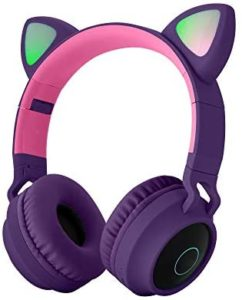 Moveski Cute Cat Bluetooth 5.0 Headset Wireless HiFi Music Stereo Bass Headphones LED Light Mobile Phones Girl Daughter Headset for PC -Purple