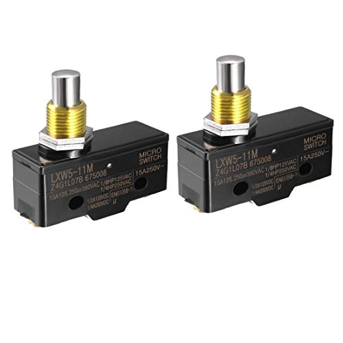 uxcell 2PCS LXW5-11M 1NO 1NC Panel Mount Snap Button Type Micro Limit Switches