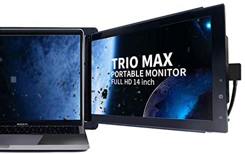 Trio Max Slide Portable Monitor for Laptop, 14″ FHD 1080P Attachable Second Laptop Screen Eye Care,Lightweight Design 13-17″ Laptops Windows/OS/Android/Nintendo Switch(one max Screen)