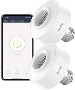 LoraTap Smart WiFi Bulb Socket E26 2 Pack Wi-Fi LED Light Bulb Lamp Timer Holder Adapter, Voice Control with Amazon Alexa and Google Home Assistant, App Control from Anywhere by Phone, 30W Max.