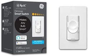 C by GE 3-Wire Smart Dimmer Switch – Compatible with Google Home and Alexa, Dimmer Switches Without Hub, Smart Switch No Neutral Required, Single-Pole/3-Way Switch Replacement, White, 1-Pack