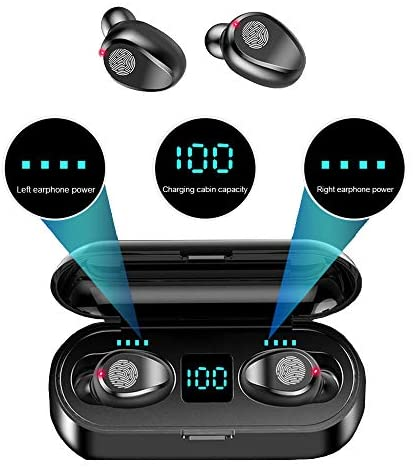 F9 Wireless LED Touch Bluetooth Earbuds and Portable Charger/Power Bank, Bluetooth 5.0, Waterproof/Sweat-Proof, Automatically Start-up and Remove, Intelligent HD Call/Cinema HiFi Sound