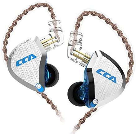 CCA C12 in-Ear Monitors, 5BA+1DD Hybrid HiFi Stereo Noise Isolating IEM Wired Earphones/Earbuds/Headphones with Detachable Tangle-Free Cable 2Pin for Musician Audiophile (Without MIC, Dream Blue)