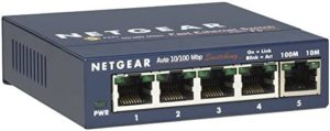 NETGEAR 5-Port Fast Ethernet 10/100 Unmanaged Switch (FS105NA) – Desktop, and ProSAFE Limited Lifetime Protection,Blue