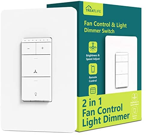 Smart Ceiling Fan Control and Light Dimmer Switch, Neutral Wire Needed, Treatlife Single Pole Wi-Fi Light Switch Fan Speed Control, Works with Alexa/Google Assistant, Remote Control, Schedule (1 PACK)