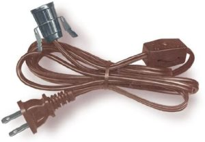 National Artcraft Lamp Cord with Clip-in Candelabra Socket and Switch – 6 Ft. (Pkg/1, Brown)