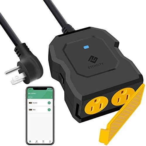 Outdoor Smart Plug Outlet, Etekcity Outdoor WiFi Outlet with 2 Sockets, Works with Alexa, Google Home, Wireless Remote Control & Energy Monitoring, Waterproof, FCC and ETL Listed