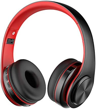 Alitoo Bluetooth Wireless Headphone Over Ear, Hi-Fi Stereo Headset Foldable Built in Microphone and Wired Mode Audio Rechargeable Headphones for iPad,TV,PC,Android,Smartphone,Tablets – Black&Red