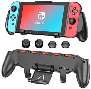 Switch Grip with Upgraded Adjustable Stand for Nintendo Switch, OIVO Asymmetrical Handle Grip with Upgraded Adjustable Stand/Cartridge Holders and 5 Game Slots- 4 Thump Caps Included