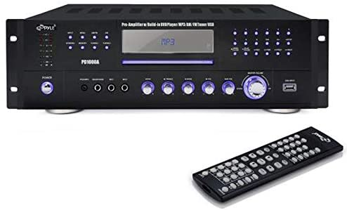 4 Channel Pre Amplifier Receiver – 1000 Watt Compact Rack Mount Home Theater Stereo Surround Sound Preamp Receiver W/ Audio/Video System, CD/DVD Player, AM/FM Radio, MP3/USB Reader – Pyle PD1000A, Black