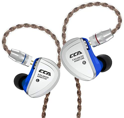 CCA C16 Audio in Ear Headphones HiFi Crystal Clear Sound Wired Earbuds Stereo Deep Bass Monitors Earphones Compatible with Android iOS Smartphone iPad Tablet