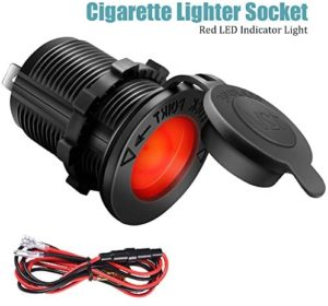 Cigarette Lighter Socket Car Marine Motorcycle ATV RV Lighter Socket Power Outlet Socket Receptacle 12V Waterproof Plug (LED Red) by ZHSMS