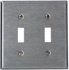 Leviton 84009-40 2-Gang Toggle Device Switch Wallplate, Standard Size, Device Mount, Stainless Steel