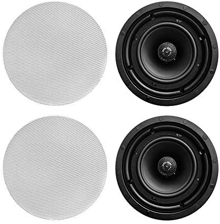 MyFunRound One Pair 6.5″ 120 Watt 2-Way MyFunRound in-Ceiling Speakers with Pivoting 1″ Titanium Dome Tweeters and Low Profile Magnetic Grilles