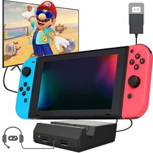 Nintendo Switch Dock Portable Switch Charging Dock TV Switch Docking Station Replacement for Nintendo Switch with 4K HDMI USB 3.0 Port and 3.5 Headphone Jack 2020 Upgraded Version (Black)