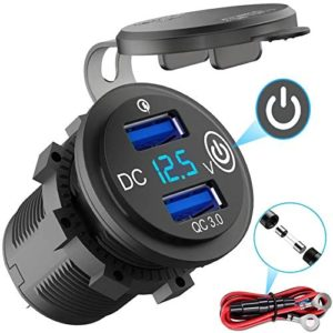 Quick Charge 3.0 USB Outlet 12V/24V with Switch, Dual USB Car Charger Power Socket Waterproof Marine Cigarette Lighter Adapter 36W QC 3.0 Fast Charge with LED Voltmeter for Boat Motorcycle RV ATV etc