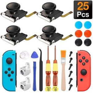 Joycon Joystick Replacement, (4 Pack) Switch Analog Stick Parts for Nintendo Switch Joy Con, Controller Repair Kit Include 4 Thumb 3D Sticks,2 Metal Buckles,2 Screwdriver,Pry Tools,6 Thumbstick Grips