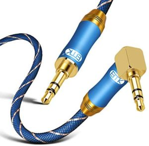 90 Degree Right Angle Aux Cable – [24K Gold-Plated,Sound Quality]EMK Audio Stereo Male to Male Cable for Laptop, Tablets, MP3 Players,Car/Home Aux Stereo, Speaker or More (2Ft/0.6Meters)