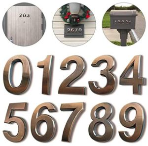 10 Pack Door Numbers 0-9, 2-3/4″ House Address Number Stickers for Mailbox/Apartment/Floor, Classical Effect, Bronze Brushed, by Hopewan (2.75″ 10 Pack (0-9), Bronze)