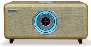 Voiz AiRadio VR-80 Alexa Built-in Wireless Internet Radio HiFi Streaming Ready Multi-Room Music System and Bluetooth – Bamboo Wooden Cabinet Natural Grill