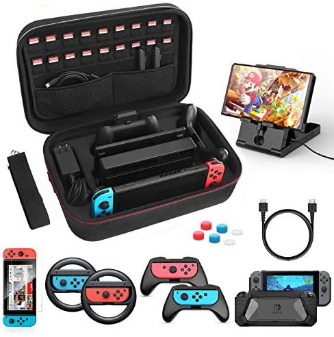 HEYSTOP Case & Accessories Kit for Nintendo Switch, 12 in 1 Switch Carry Case, PlayStand, Joycon Steering Wheel, Joycon Grip, Screen Protector, Protective Case Cover, Thumb Grips, Charger Cable