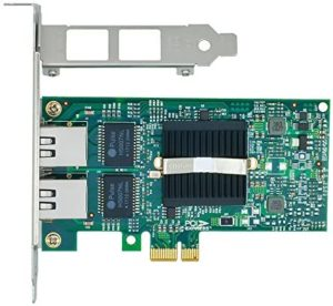 Jeirdus with Intel 82575 Chipset PCI Express PCI-e Gigabit Dual 2 RJ45 Port Network Card NIC 10/100/1000Mbps Server LAN Adapter