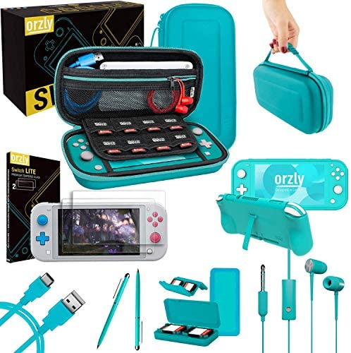 Orzly Switch Lite Accessories Bundle – Case & Screen Protector for Nintendo Switch Lite Console, USB Cable, Games Holder, Grip Case, Headphones, Thumb-Grip Pack & More (Gift Pack – Turquoise Blue)