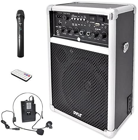 Pyle Pro Outdoor Indoor Portable PA Stereo Sound System with 6.5 inch Speaker, USB SD Card Reader, Rechargeable Battery, Indicator Lights, Wireless Microphone, Remote-PWMA170, Silver/Black (PWMA170)