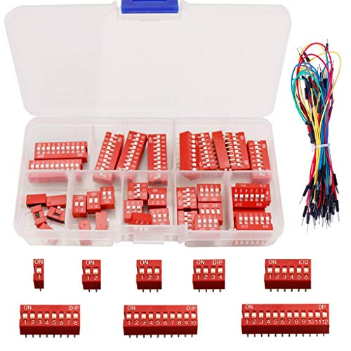 DAOKI 40PCS DIP Switch Assorted Kit Red 1 2 3 4 6 8 10 12Position 2.54mm On Off Slide Type Switch for Breadboard with Jump Wire