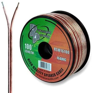 PYRAMID 100ft 16 Gauge Speaker Zip Wire – Copper Cable in Spool for Connecting Audio Stereo to Amplifier, Surround Sound System, TV Home Theater and Car Stereo – Pyle RSW16100