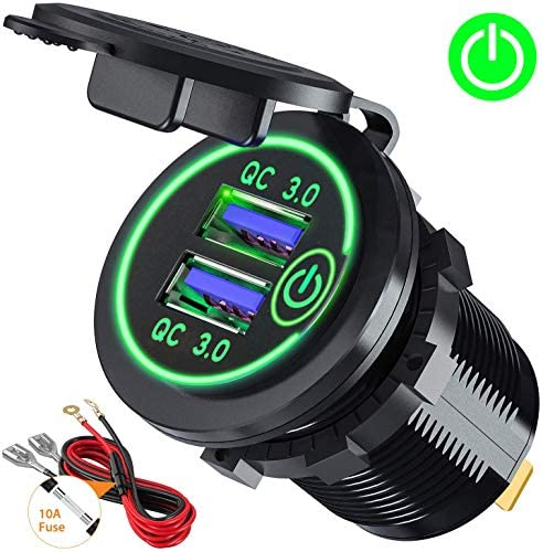 Quick Charge 3.0 Dual USB Car Charger Socket with Touch Switch 12V/24V 36W QC3.0 Dual USB Fast Charger Socket Power Outlet for Marine, Boat, Motorcycle, Truck, Golf Cart(Green)