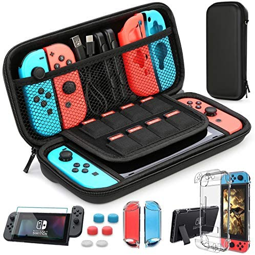 HEYSTOP Nintendo Switch Case – Nintendo Switch Carry Case Pouch + Switch Cover Case + HD Switch Screen Protector + Thumb Grips Caps for Nintendo Switch Console Accessories