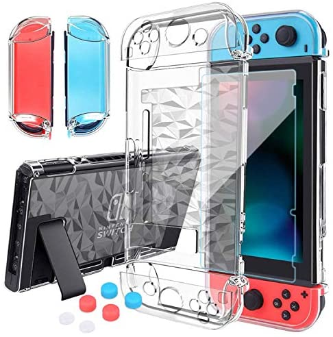 HEYSTOP Compatible with Nintendo Switch Case Dockable, Clear Protective Case Cover for Nintendo Switch and Joy-Con Controller with a Switch Tempered Glass Screen Protector and Thumb Stick Caps
