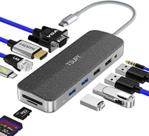 USB C HUB Multiport, TSUPY 11 in 1 Type C Adapter Hub with Gigabit Ethernet,4K HDMI,VGA,Fast Charging USB-C Port, 3.5mm Audio,4 USB Ports and SD/TF Card Reader for MacBook Pro/Air,XPS and More