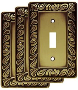 Franklin Brass W10108V-ABT-R Paisley Single Toggle Switch Wall Plate, Tumbled Antique Brass, Pack of 3