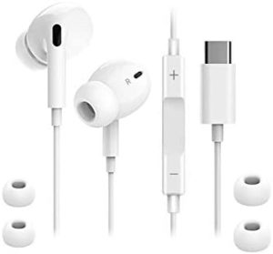 USB C Headphones, Type C Earphones, Upgraded Version USB C Earphones HiFi Stereo in Ear Earbuds, with Mic and Volume Control, Compatible with XZ2 XZ3 Galaxy S Xiaomi Huawei etc (New Version) (White)